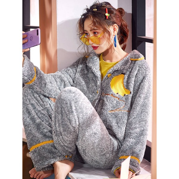 Coral velvet pajamas, women's autumn and winter sweet, lovely, warm flannel pajamasets for ladies