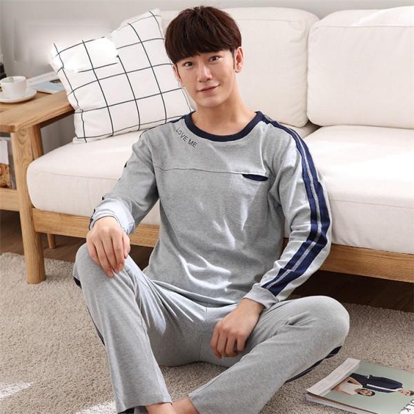 cheap man nigntwear suit 100 cotton long sleeve pajama