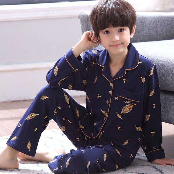 Sleepwear for boys pajamasets for Kids cotton soft blue with bear print