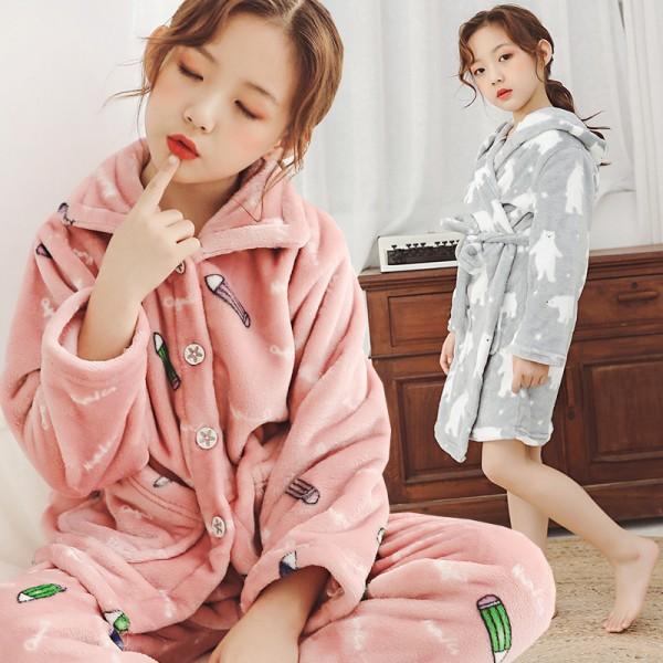 Soft girls flannel robe for winter pink/grey