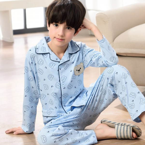 long sleeved cartoon boys pajama sets blue 100 cotton soft pj set for children