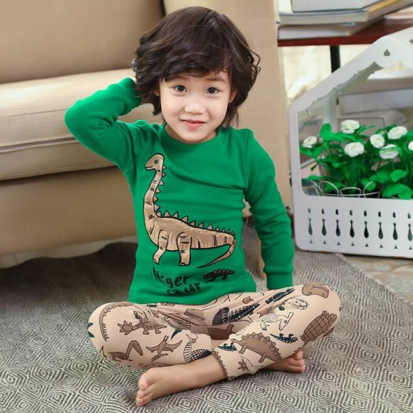 children's cotton pajamasets with Cartoon and dinosaur