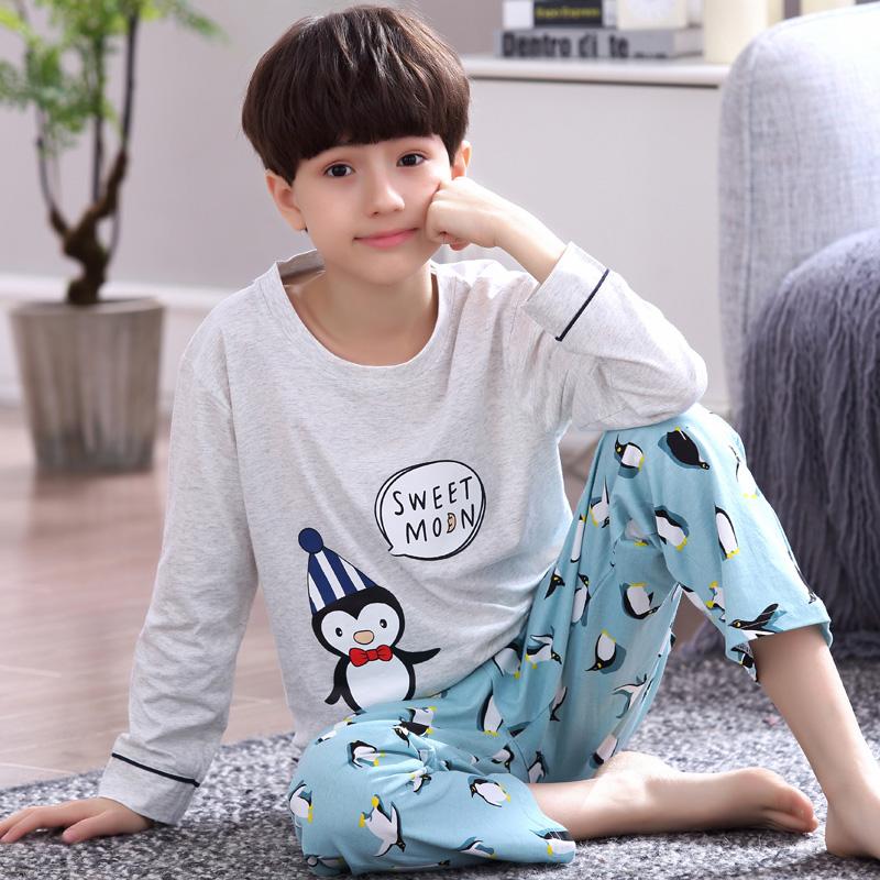 boys Cartoon long sleeve pajamas Cotton cut pjs