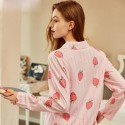 New Long Sleeved pink Ladies pajama sets with strawberry print pjs for women