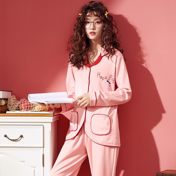 Long sleeved Cardigan lovely pink ladies pajama sets for women