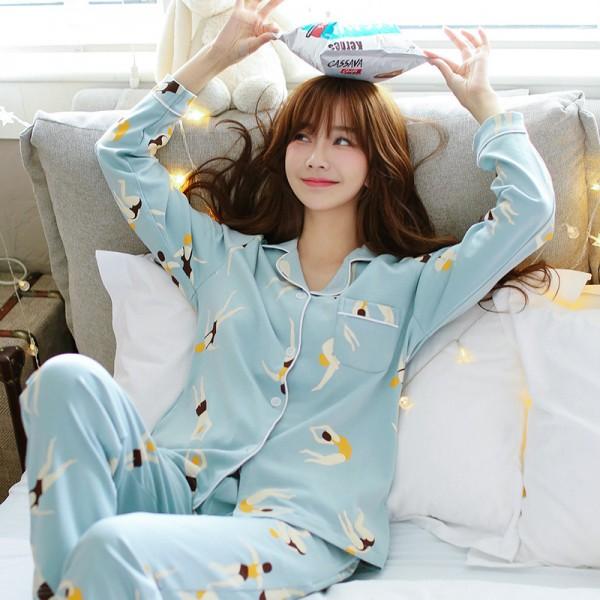 ladies cotton pajamas long sleeved Light blue pajama sets for women