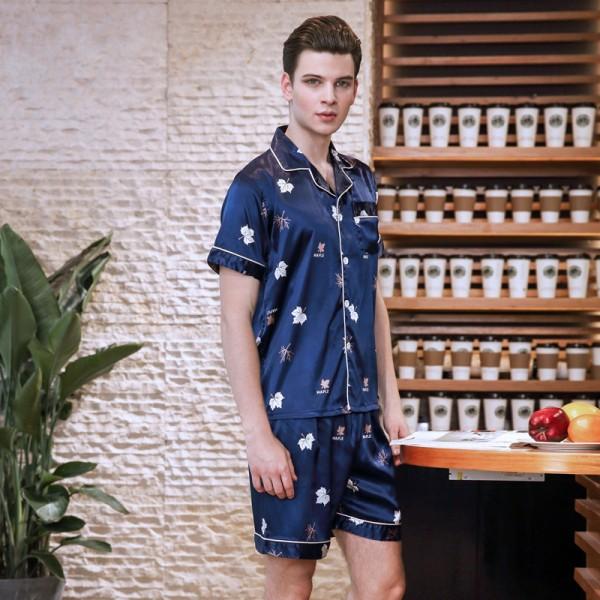 Mens ice silk pajama short sets blue