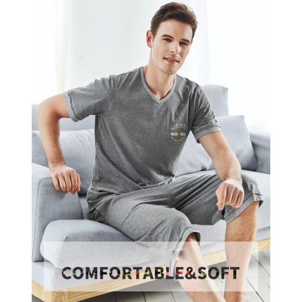 Cotton short pajamas 100% cotton impact color simple leisure T-shirt