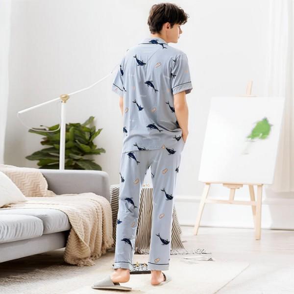 Cartoon printed clean Men's cotton Pajamas short blue