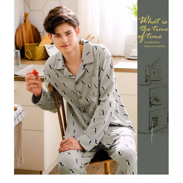 grey men's long sleeved cotton softest pajama sets
