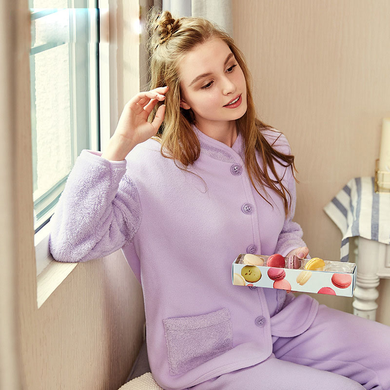 Thickened collar women sleepwearpure color set of pajamas female