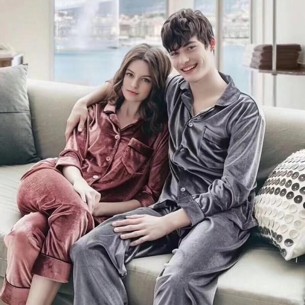 couple pajamas woMen's velvet long sleeved Men's Pajama sets for Fall / Winter
