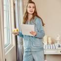 woMen's Lapel pajamas, cardigan printed comfortable large size Home wear