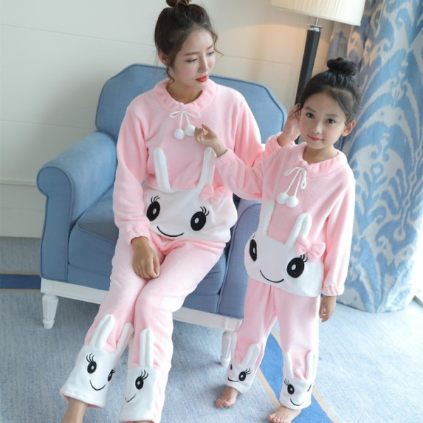 Long sleeved Flannel pajamas girls for Fall / Winter Matching family pajamas two sets