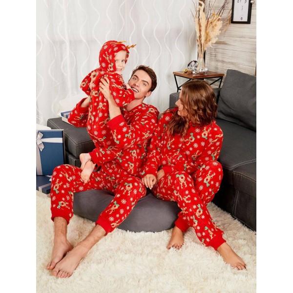 Red Christmas parent-child pajamas best cartoon printed Xmas matching pjs