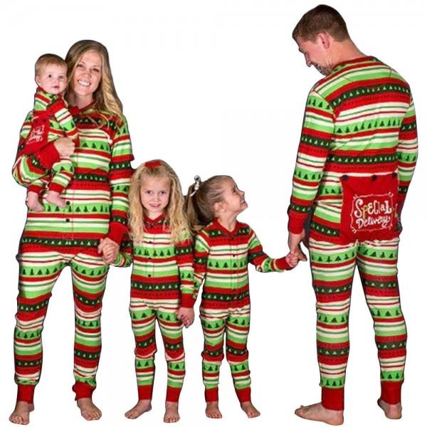 Parent-child suit Christmas pajamas Striped Christmas tree printed Xmas Dress