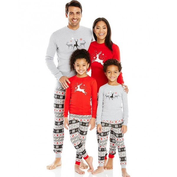 Long sleeves Christmas parent-child dress,simple Family matching pjs for Christmas