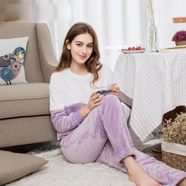 Winter Flannel Pyjama suit thicker simple female household suit