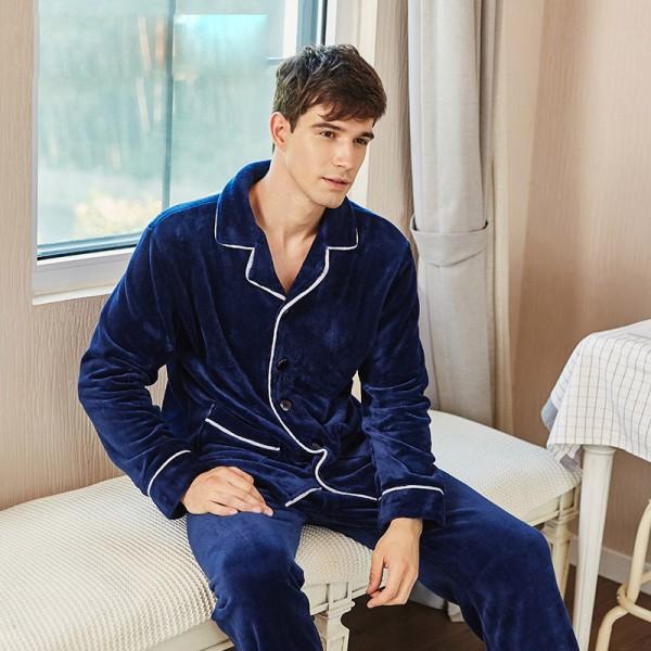 flannel long sleeve Men's cardigan pajamas warm and thick  pajamas