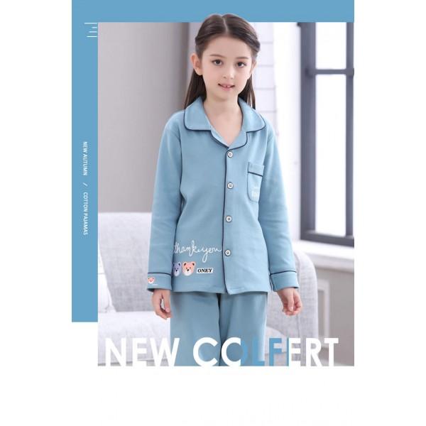 long sleeves cotton Girls pajama sets blue