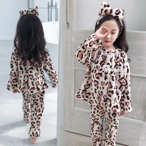 Fashion leopard print girl's Pajamas Fall / Winter cartoon children's pajamas lovely pyjamas