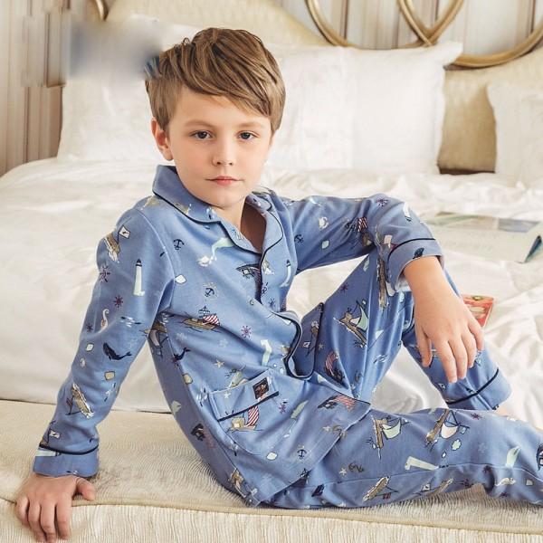 pure cotton long sleeves Boys' pajamas for Spring /Autumn