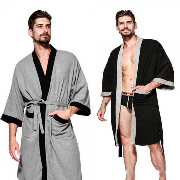 Cotton Robe casual bathrobe sauna Nightgown for men