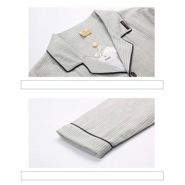 cotton long sleeved Pajama sets for mens gray stripe