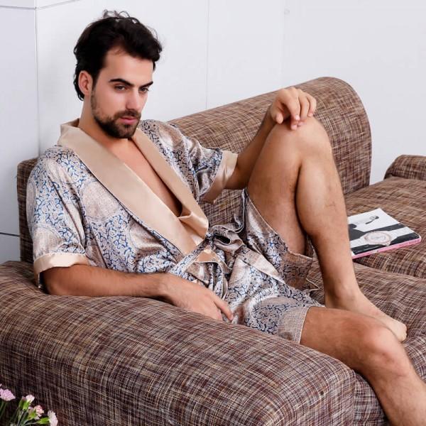 Men's silk robe summer kimono Night gown