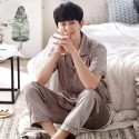 Luxury loose ice silk mens Pajamas sets short sets for male