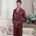 long sleeved Satin pajamas men's softest Pjs luxury silk red/silver/champagne