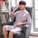 ice silk Mens robe sets thin casual pajamas for male luxury silk red/silver/champagne