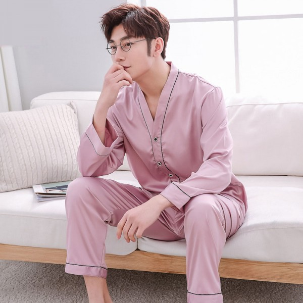 luxury silk red/silver/champagne long sleeves casual collar Men's silk pajama sets