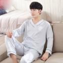 Pure color Satin pajamas for men V-neck luxury sleepwear male