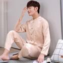 Casual ice silk lounge pajamas for men long sleeved pure color pajamas male blue/black