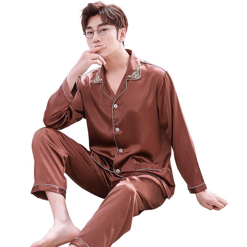 Double pocket luxury silk men's pajama sets Satin pajamas for male