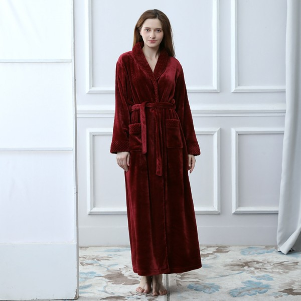 Flannel splicing nightgown for spring long sleeve cute lounge pajamas for women
