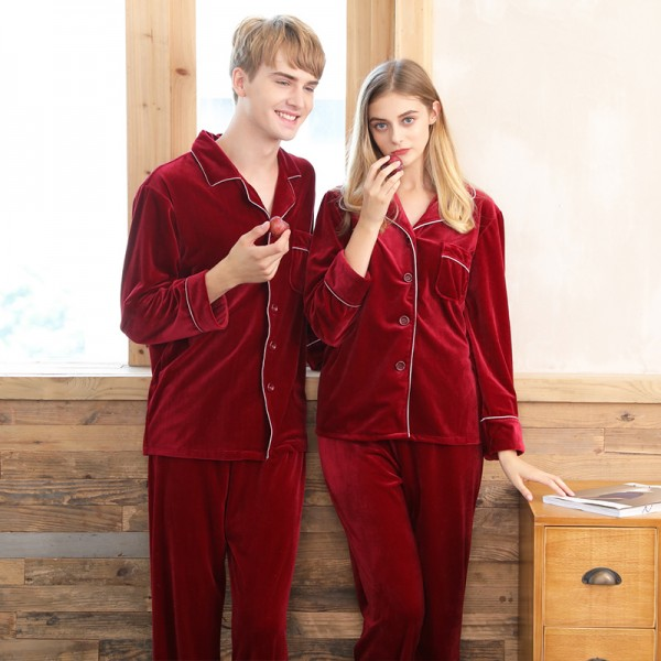 Velvet couple pajamas,ladies red wedding brides home sets for Fall / Winter