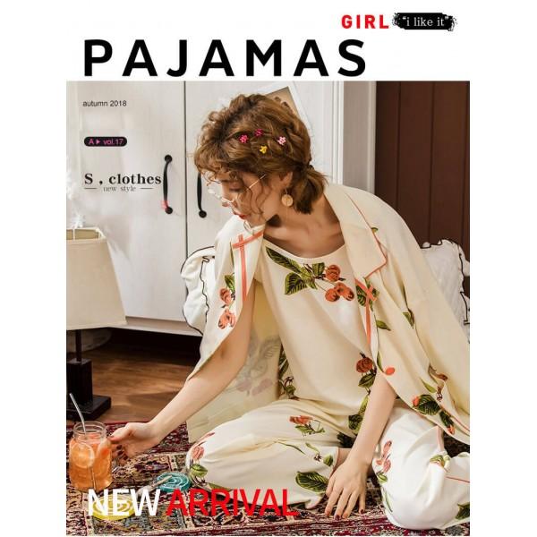 cotton ladies pajamas sexy ladies long sleeves PJS for spring