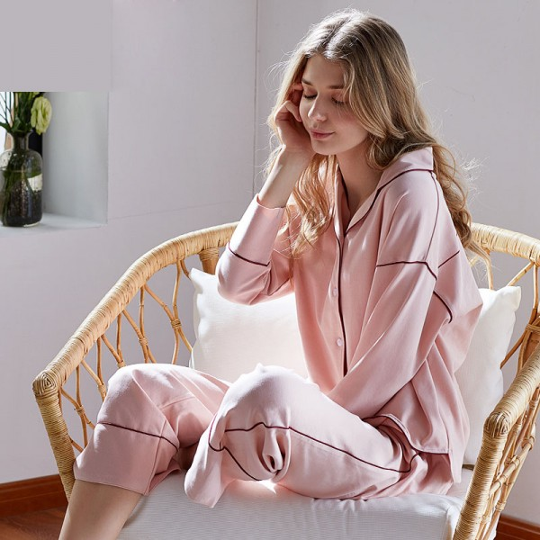 cotton loose long sleeved Pajamas female,women's luxury pajama sets clean pure pink/green/silver