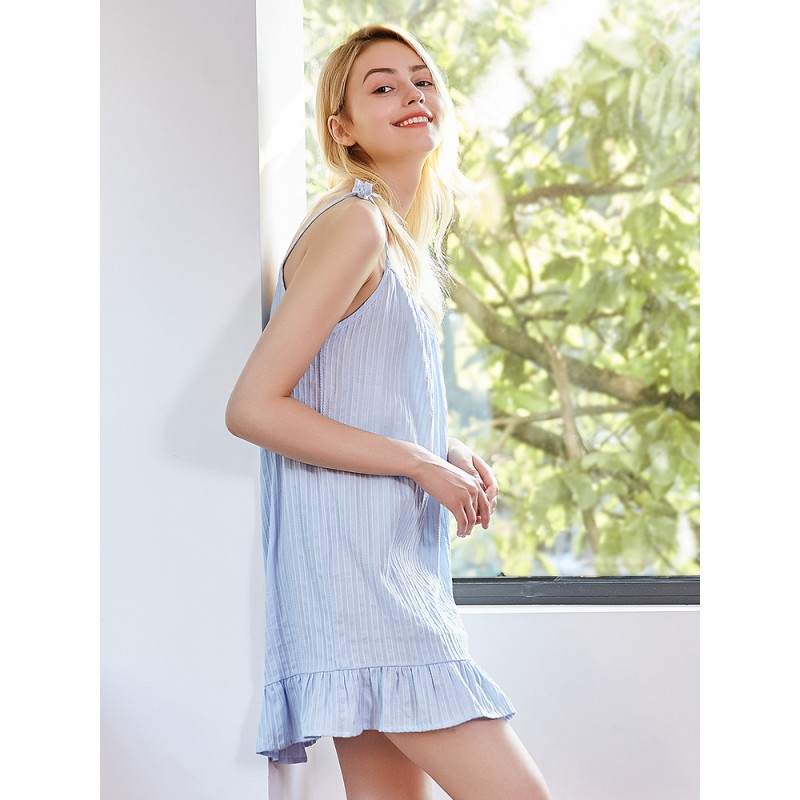Sexy sling cotton sleepdress for girls nightgown female
