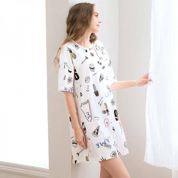 cotton Pajamas women's short sleeved Nightgown cartoon print short nightdress