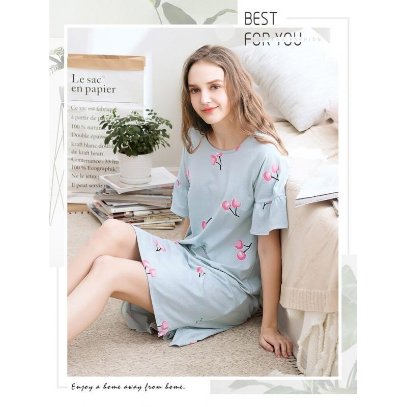 Comfortable women cotton sleepdress soft printed lounge pajamas female