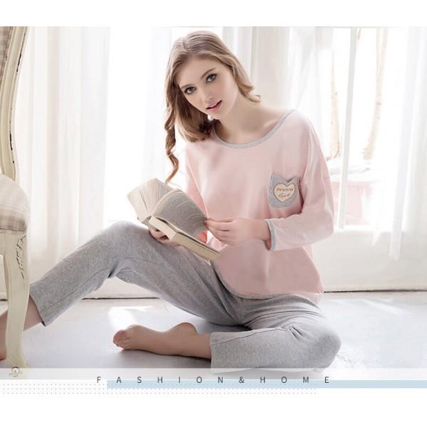 cotton loose long sleeved lovely thin women's Comfortable sleepwear
