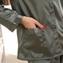 Long sleeved ice silk pajamas for ladies luxury silky nightwear female