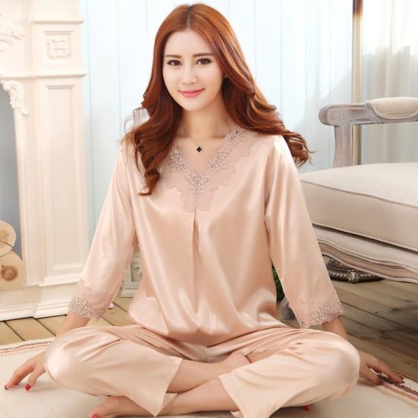 Large size ladies simulation silk pyjamas for spring luxury silky nightwear female