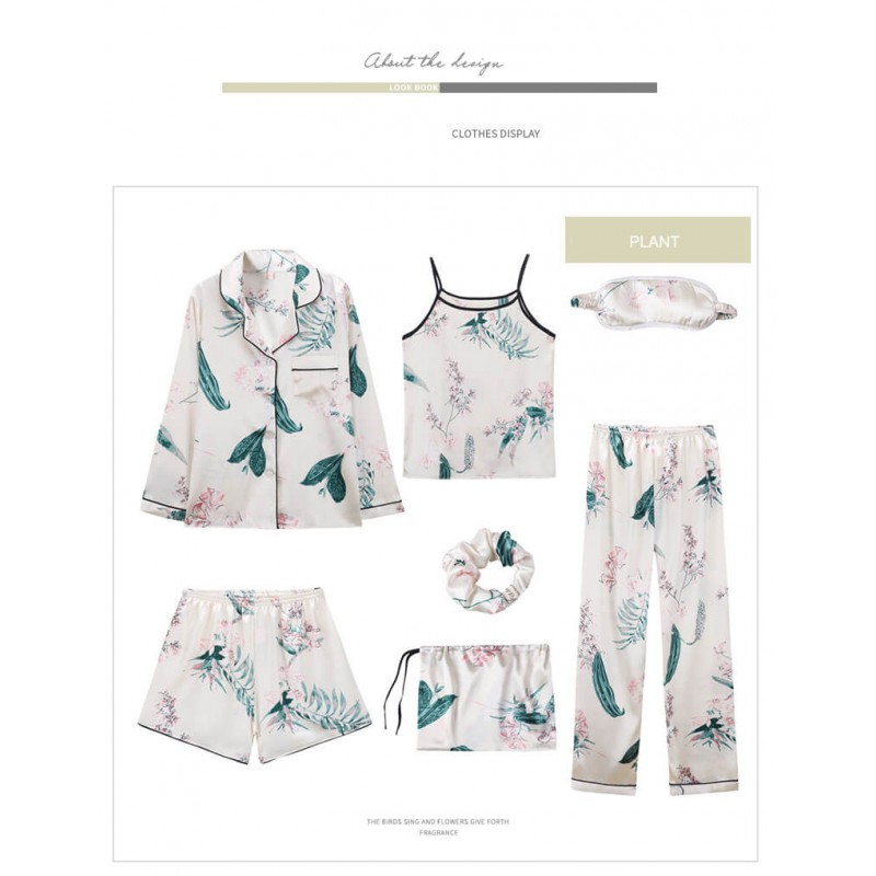 sexy sling ice Satin Pajama sets for women,ladies pjs 7 sets