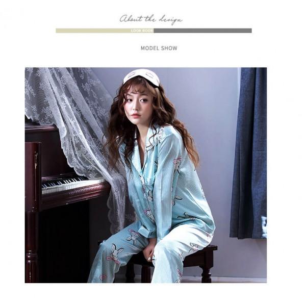 Long sleeves Satin pajama sets for women luxury Bright print silky nightwear female