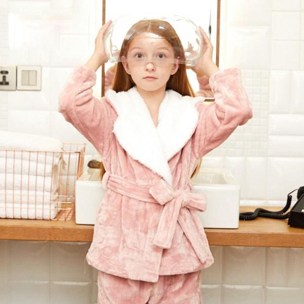 large Winter flannel warm velvet pajama set for girls