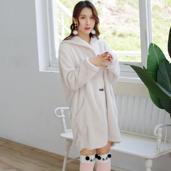 Coral fleece thicken lounge pajamas female comfy pajamas sets women